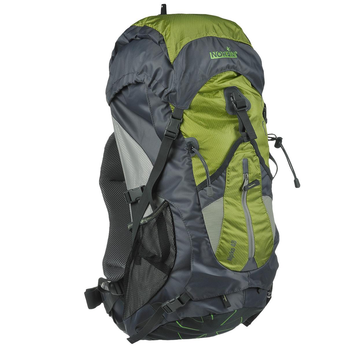 """Рюкзак туристический Norfin """"Alpika"""", цвет: серый, неоновый желтый, 40 л"""