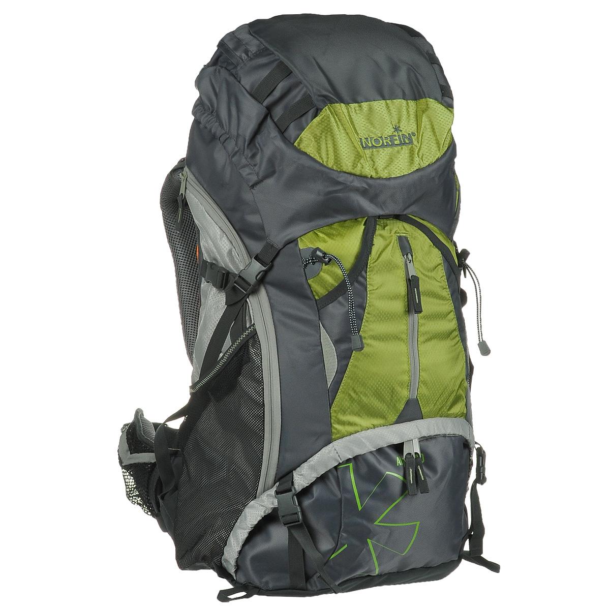"""Рюкзак туристический Norfin """"Alpika"""", цвет: серый, неоновый желтый, 60 л"""