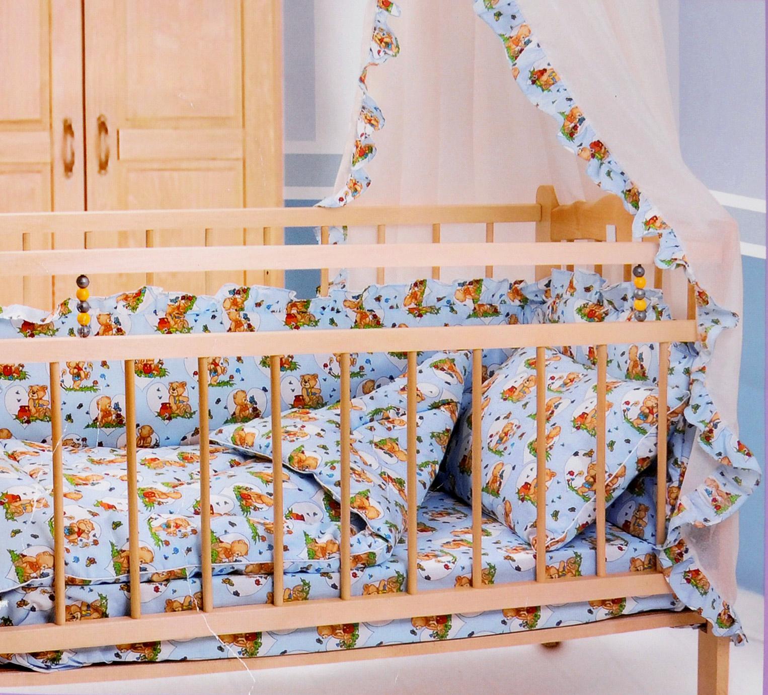 Комплект в кроватку Primavelle Кроха, цвет: голубой, 5 предметов601104005-18Комплект в кроватку Primavelle Кроха прекрасно подойдет для кроватки вашего малыша, добавит комнате уюта и согреет в прохладные дни. В качестве материала верха использованы 70% хлопка и 30% полиэстера. Мягкая ткань не раздражает чувствительную и нежную кожу ребенка и хорошо вентилируется. Подушка и одеяло наполнены гипоаллергенным экофайбером, который не впитывает запах и пыль. В комплекте - удобный карман на кроватку для всех необходимых вещей.Очень важно, чтобы ваш малыш хорошо спал - это залог его здоровья, а значит вашего спокойствия. Комплект Primavelle Кроха идеально подойдет для кроватки вашего малыша. На нем ваш кроха будет спать здоровым и крепким сном.Комплектация:- бортик (150 см х 35 см); - простыня (120 см х 180 см);- подушка (40 см х 60 см);- одеяло (110 см х 140 см);- кармашек (60 см х 45 см).