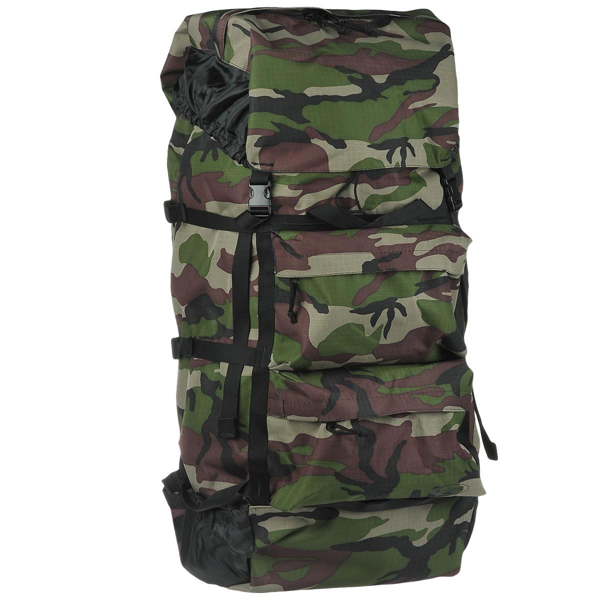 """Huntsman """"Пикбастон"""" - это мягкий вместительный рюкзак, предназначенный для походов разной категории сложности. Особенности рюкзака: Непромокаемое дно Корпус усилен стропами с шестью боковыми стяжками Впереди два кармана на молнии под клапаном С боков маленькие открытые карманы для мелочей Внутри регулируемые лямки со стяжкой и спинка уплотнены вспененным полиэтиленом Сверху высокий фартук из капрона, увеличивающий объём Верх рюкзака и фартук стягиваются шнуром с фиксатором и закрываются клапаном с карманом на молнии на две защёлки Ручка для переноски рюкзака."""