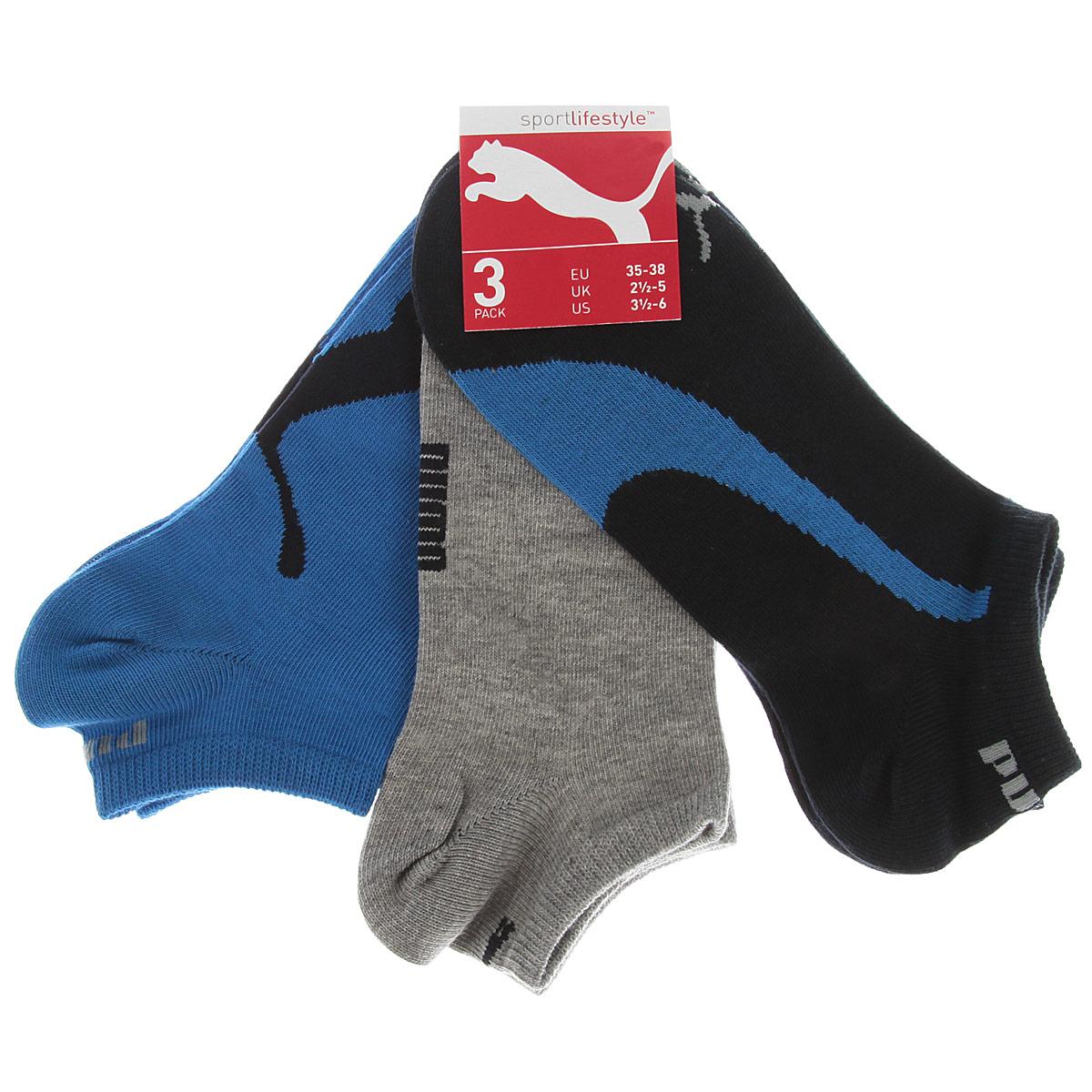 Носки унисекс Puma Lifestyle Sneakers, цвет: темно-синий, серый, голубой, 3 пары. 88641203. Размер 43/4688641203Носки Puma Lifestyle Sneakers с укороченным паголенком изготовлены из хлопка с добавлением полиамида и эластана. Комфортная широкая резинка не сдавливает и облегает ногу.В комплект входят три пары носков, оформленных фирменным логотипом бренда.