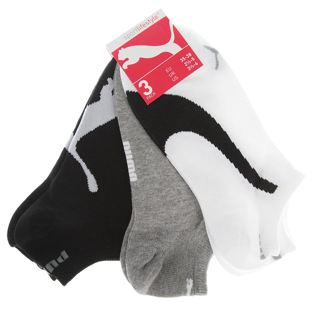 Носки унисекс Puma Lifestyle Sneakers, цвет: белый, серый, черный, 3 пары. 88641201. Размер 39/42 кошельки puma кошелёк rbr lifestyle wallet