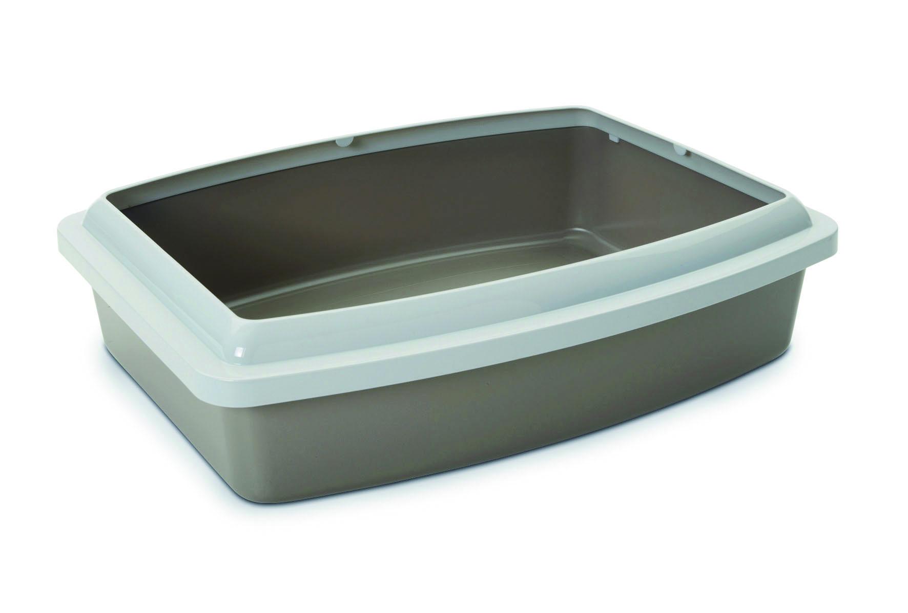 Туалет для кошек Savic  Oval Trey Medium , с бортом, цвет: серый, 42 см х 33 см