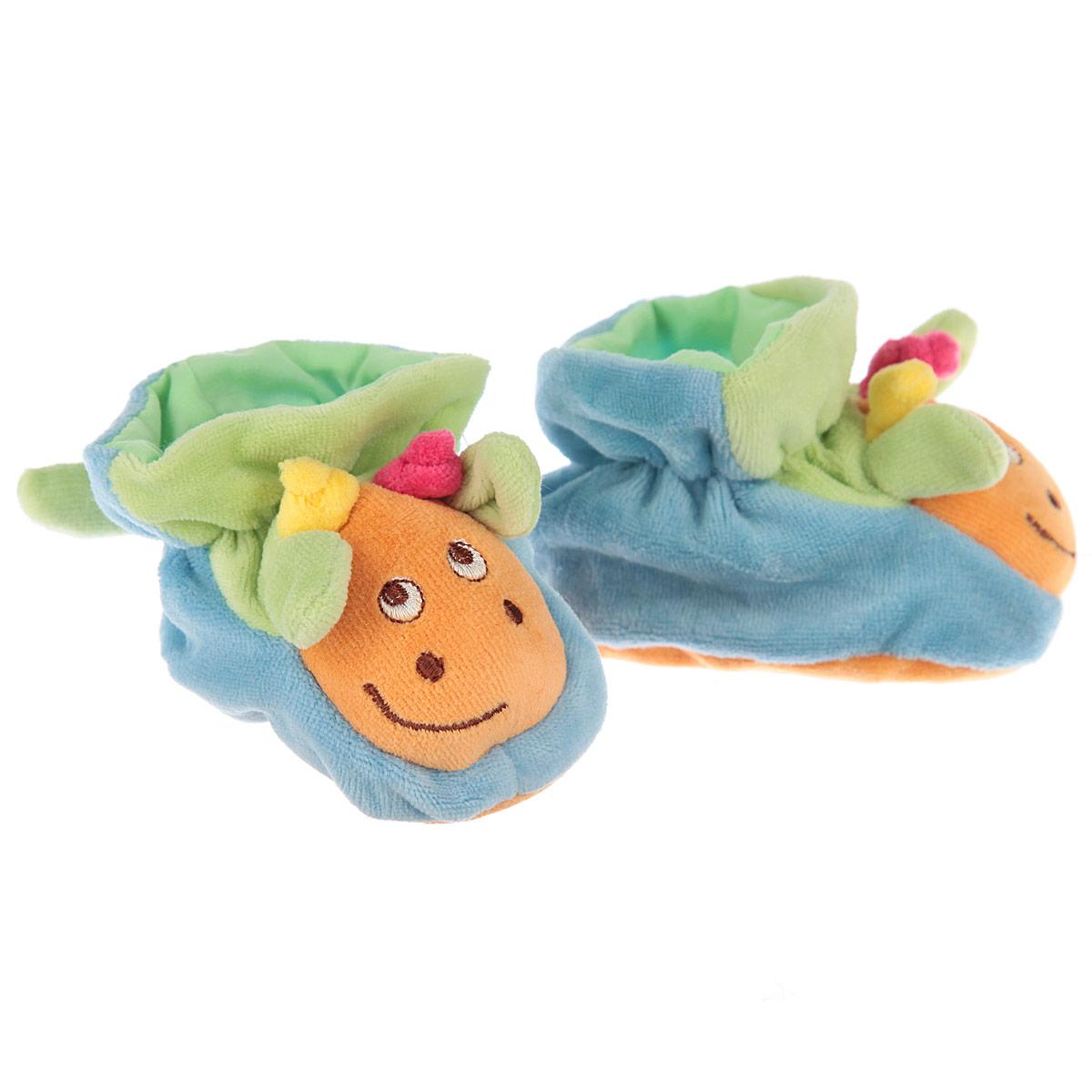 Пинетки Baby Nice Жирафики, цвет: голубой, зеленый, оранжевый. Р47061. Возраст 0месР47061Очаровательные пинетки Baby Nice Жирафики идеально подойдут для маленьких ножек вашего крохи! Они очень нежные и приятные на ощупь, не раздражают кожу и хорошо вентилируются. В хлопковых велюровых пинетках ножка малыша дышит и не мерзнет - созданы все комфортные условия, для того, чтобы подумать о первых шагах!Пинетки изготовлены из очень мягкого и приятного на ощупь ворсистого материала - 100% хлопка и оформлены объемной головой в виде жирафика. Благодаря скрытой эластичной резинке пинетки будут отлично держаться на ножке младенца. Подошва выполнена в контрастном цвете. Такие пинетки - отличное решение для малышей и их родителей!