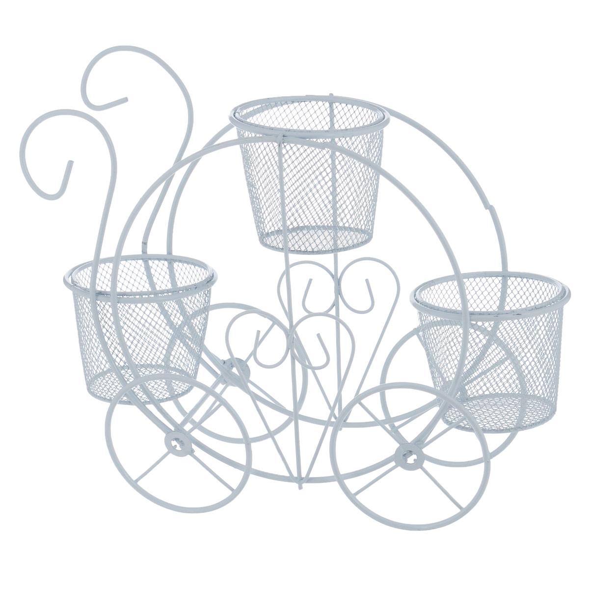 Тележка декоративная ScrapBerrys, с горшочками, цвет: белый, 24 см х 8 см х 19 смSCB271043Декоративная тележка ScrapBerrys выполнена из высококачественного металла. Изделие украшено изящными коваными узорами. Тележка оснащена тремя горшками, в которых можно разместить небольшие горшки с цветами. Такая тележка предназначена для скрапбукинга (для флористики), также она подойдет для декора интерьера дома или офиса. Кроме того - это отличный вариант подарка для ваших близких и друзей.Размер тележки: 24 см х 8 см х 19 см. Размер горшка: 6 см х 6 см х 5,5 см.