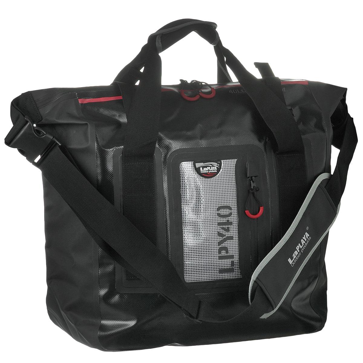 Сумка водонепроницаемая LaPlaya Square Bag, цвет: черный, 40 л800201Водонепроницаемая сумка LaPlaya Square Bag - незаменимая вещь для любителей туристических походов, кемпингов и отдыха на природе. Сумка выполнена из ПВХ (брезент + сетка). Метод термосварки швов обеспечивает 100% герметичность. Сумка имеет одно вместительное отделение, которое закрывается на водонепроницаемую молнию. Внутри содержится вшитый карман на молнии и 2 сетчатых кармашка. С лицевой стороны сумки расположен прозрачный карман, также с водонепроницаемой молнией, удобный для хранения документов, билетов и других бумаг. Сумка компактная, практичная и очень удобная, она снабжена плечевым ремнем с мягкой вставкой для плеча, а также двумя ручками. На ручках и ремне имеются светоотражающие элементы. Такая сумка - просто находка для экстремалов и любителей проводить много времени на открытом воздухе. LaPlaya DRY BAG - это функциональный и минималистичный дизайн, прочный материал и высокое качество технологии производства. Это все, что необходимо для выбора идеального партнера в вопросе экипировки для активного отдыха, открытых спортивных мероприятий и настоящих приключений, не зависящих от погодных условий.
