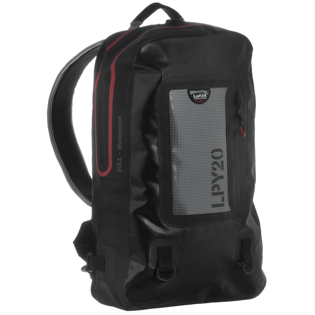 Рюкзак водонепроницаемый LaPlaya, цвет: черный, 20 л800801Водонепроницаемый рюкзак LaPlaya - незаменимая вещь для любителей туристических походов, кемпингов и отдыха на природе. Рюкзак выполнен из ПВХ (брезент + сетка). Метод термосварки швов обеспечивает 100% герметичность. Рюкзак закрывается на водонепроницаемую молнию, которая не позволит воде проникнуть внутрь. Внутри содержится съемное противоударное отделение для ноутбука или планшета с карманом на молнии на передней стенке, а также вшитый карман на молнии и 2 сетчатых кармашка. С лицевой стороны рюкзака расположен прозрачный карман, также с водонепроницаемой молнией, очень удобный для хранения документов, билетов и других бумаг. Рюкзак компактный, практичный и очень удобный, он снабжен мягкой спинкой, плечевыми ремнями регулируемой длины и дополнительными съемными креплениями. Также имеется два кольцами для крепления аксессуаров на карабинах. Такой рюкзак - просто находка для экстремалов и любителей проводить много времени на открытом воздухе. LaPlaya DRY BAG -это функциональный и минималистичный дизайн, прочный материал и высокое качество технологии производства. Это все, что необходимо для выбора идеального партнера в вопросе экипировки для активного отдыха, открытых спортивных мероприятий и настоящих приключений, не зависящих от погодных условий.