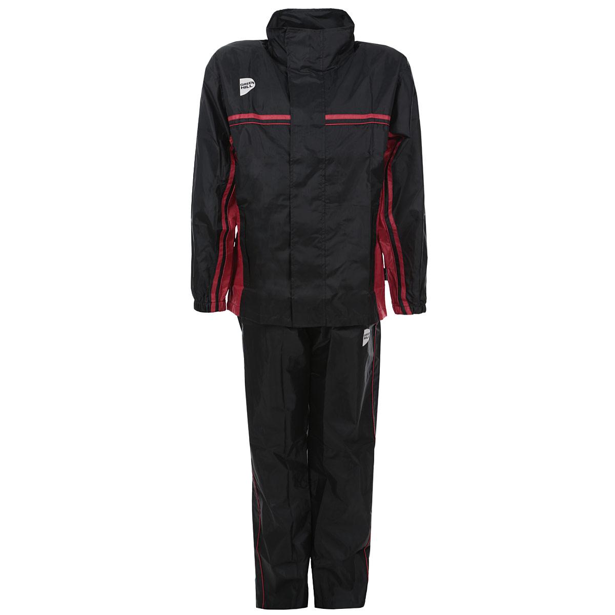 Костюм-сауна Green Hill, цвет: черный, красный. Размер 46SS-3661Костюм-сауна Green Hill предназначен для интенсивного сброса веса во время тренировок. Костюм выполнен из полиэстера черного цвета с красными вставками. Состоит из штанов и куртки с длинным рукавом. Пояс и манжеты куртки и штанов на резинках, что обеспечивает более плотное прилегание к телу. Куртка застегивается на застежку-молнию и липучки, имеет капюшон, убирающийся в воротник, и два кармана на молнии. Брюки имеют шнурок на поясе, а также карманы на молнии.Во время физических тренировок костюм создает эффект сауны, что в свою очередь эффективно воздействует на процесс сжигания жира. Поэтому в таком костюме лишний вес будет пропадать намного быстрее, чем в обычной спортивной одежде.