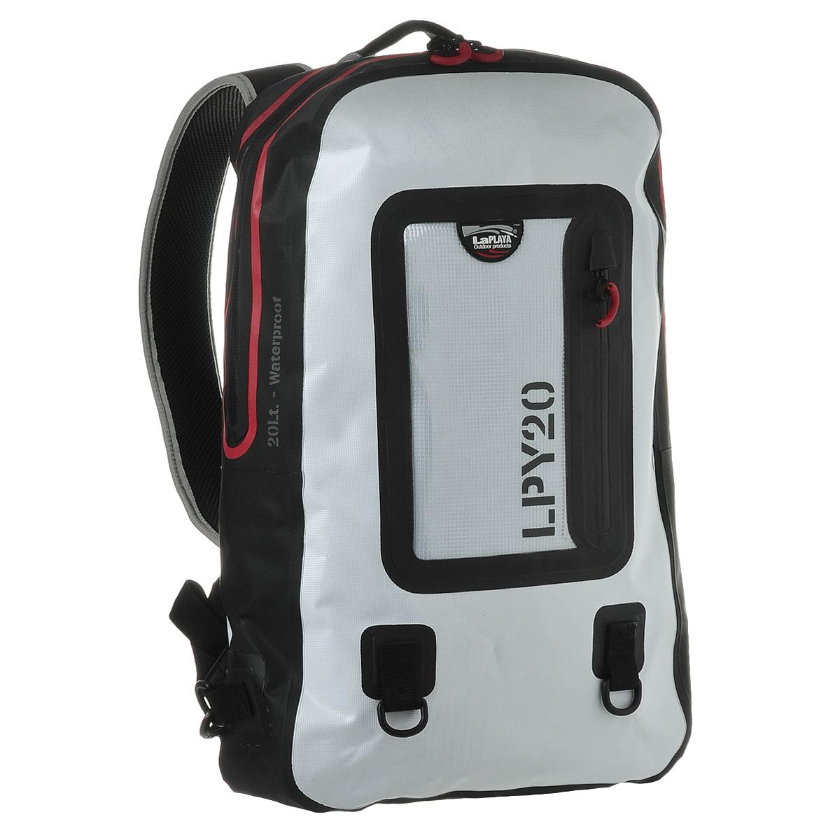 Рюкзак водонепроницаемый LaPlaya, цвет: белый, 20 л800802Водонепроницаемый рюкзак LaPlaya - незаменимая вещь для любителей туристических походов, кемпингов и отдыха на природе. Рюкзак выполнен из ПВХ (брезент + сетка). Метод термосварки швов обеспечивает 100% герметичность. Рюкзак закрывается на водонепроницаемую молнию, которая не позволит воде проникнуть внутрь. Внутри содержится съемное противоударное отделение для ноутбука или планшета с карманом на молнии на передней стенке, а также вшитый карман на молнии и 2 сетчатых кармашка. С лицевой стороны рюкзака расположен прозрачный карман, также с водонепроницаемой молнией, очень удобный для хранения документов, билетов и других бумаг. Рюкзак компактный, практичный и очень удобный, он снабжен мягкой спинкой, плечевыми ремнями регулируемой длины и дополнительными съемными креплениями. Также имеется два кольцами для крепления аксессуаров на карабинах. Такой рюкзак - просто находка для экстремалов и любителей проводить много времени на открытом воздухе. LaPlaya DRY BAG -это функциональный и минималистичный дизайн, прочный материал и высокое качество технологии производства. Это все, что необходимо для выбора идеального партнера в вопросе экипировки для активного отдыха, открытых спортивных мероприятий и настоящих приключений, не зависящих от погодных условий.