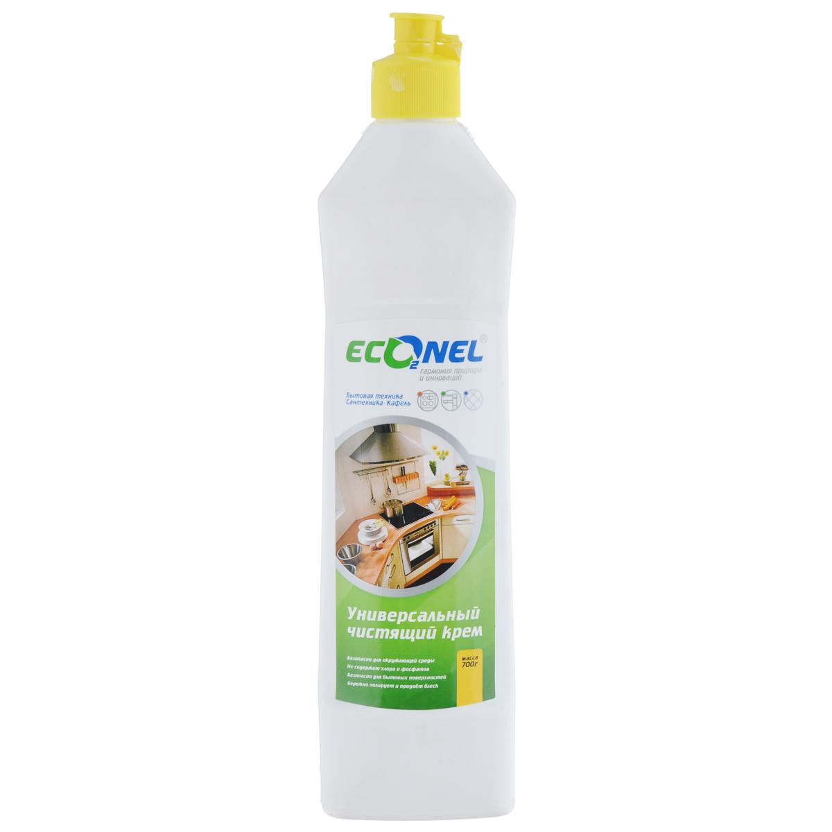 Крем чистящий Econel, универсальный, 700 г870240Универсальное чистящее средство Econel деликатно и эффективно удалит стойкую грязь, жировые и известковые налеты, остатки пригоревшей еды и прочие загрязнения, характерные для кухни и ванной комнаты. Идеально подходит для чистки эмалированных, хромированных поверхностей, изделий из стекла, нержавеющей стали, фарфора, фаянса, серебра. Благодаря мягкой абразивной текстуре кремообразное средство проникает в структуру загрязнения, устраняет ее, не причиняя вреда очищаемой поверхности. Состав: менее 5%: анионные поверхностно-активные вещества, неионогенные поверхностно-активные вещества, кислота олеиновая, натр едкий, полиоксихлорид алюминия, консервант, ароматизирующая добавка; более 30%: мягкий абразивный наполнитель, вода очищенная.Как выбрать качественную бытовую химию, безопасную для природы и людей. Статья OZON Гид
