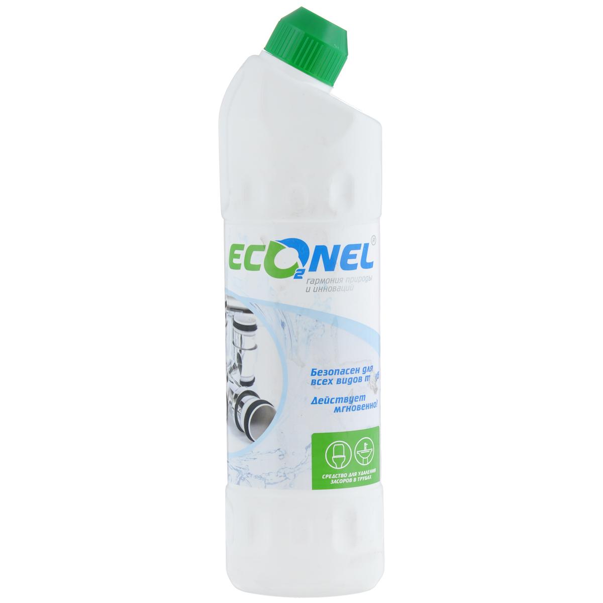"""Средство """"Econel"""" предназначено для бытовых нужд, очистки водостоков ванн, умывальников и канализационных труб от засорения органическими посторонними материалами и отходами жирового характера. Состав: 5-15% гидроксид натрия, более 30% вода очищенная.    Как выбрать качественную бытовую химию, безопасную для природы и людей. Статья OZON Гид"""