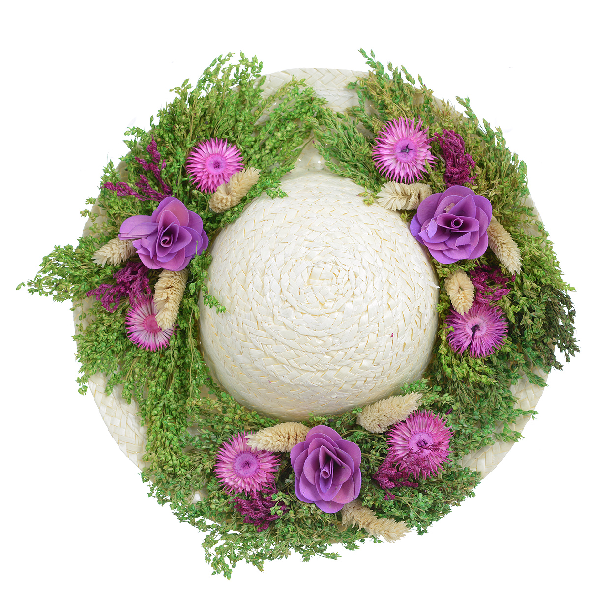 Декоративное настенное украшение Lillo Шляпа. 29 х 29 х 7,5 смAF 03127Декоративное подвесное украшение Lillo Шляпа выполнено из натуральной соломы и украшено сухоцветами. Такая шляпа станет изящным элементом декора в вашем доме. С задней стороны расположена петелька для подвешивания. Такое украшение не только подчеркнет ваш изысканный вкус, но и прекрасным подарком, который обязательно порадует получателя.Диаметр шляпы: 29 см.