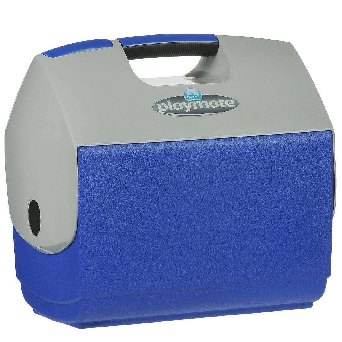 Изотермический контейнер Igloo Playmate Elite, цвет: синий, 15 л43231Легкий и прочный изотермический контейнер Igloo Playmate Elite, изготовленный из высококачественного пластика, предназначен для транспортировки и хранения продуктов и напитков. Корпус гладкий, эргономичного дизайна, ударопрочный. Поддержание внутреннего микроклимата обеспечивается за счет термоизоляционной прокладки из пены Ultra Therm, способной удерживать температуру внутри корпуса до 24 часов. Для поддержания температуры рекомендуется использовать аккумуляторы холода (в комплект не входят). Контейнер имеет удобную ручку и распахивающуюся крышку для легкого доступа к продуктам. Крышка плотно и герметично закрывается. Оригинальный замок на крышке Playmate-Realise позволяет открывать контейнер одной рукой.Такой контейнер можно взять с собой куда угодно: на отдых, пикник, кемпинг, на дачу, на рыбалку или охоту и т.д. Идеальный вариант для отдыха на природе.