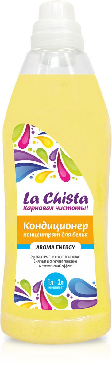 Кондиционер для белья La Chista Aroma Energy, концентрат, 1 л870285Кондиционер La Chista Aroma Energy, предназначен для смягчения хлопчатобумажных, шерстяных, льняных и синтетических изделий. После стирки вещи приобретают особую мягкость, тонкий аромат свежести и легко поддаются глажке. Кондиционер безопасен при контакте с кожей человека. Сохраняет первоначальный вид и яркость вещей.Удаляет с ткани остатки стирального порошка. Обладает эффектом антистатика. Состав: вода, 5-15% катионного ПАВ, кальций хлористый, парфюмерная композиция, консервант, краситель.