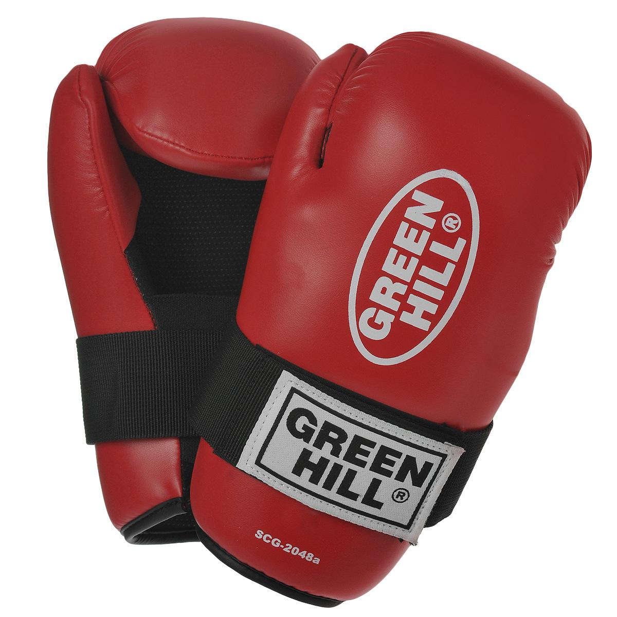 Перчатки для контактных единоборств Green Hill 7-contact, цвет: красный. Размер SSCG-2048cНакладки Green Hill 7-contact для контактных видов единоборств семиконтакт. Идеально подходят для обучения, спаррингов и соревнований. Перчатки выполнены из высококачественной. Широкий ремень, охватывая запястье, полностью оборачивается вокруг манжеты, благодаря чему создается дополнительная защита лучезапястного сустава от травмирования. Застежка на липучке способствует быстрому и удобному одеванию перчаток, плотно фиксирует перчатки на руке.