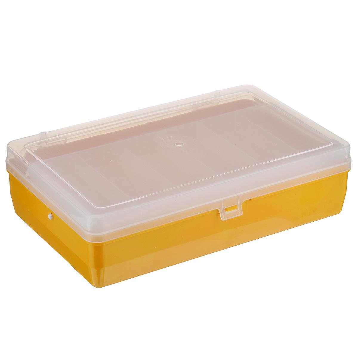 Коробка для мелочей Trivol, двухъярусная, с микролифтом, цвет: желтый, 23,5 х 15 х 6,5 см23-3-6Двухъярусная коробка для мелочей Trivol изготовлена из высококачественного пластика. Прозрачная крышка позволяет видеть содержимое коробки. Изделие имеет два яруса. Верхний ярус представляет собой съемное отделение, в котором содержится 6 прямоугольных ячеек. Нижний ярус имеет 3 ячейки разного размера. Коробка прекрасно подойдет для хранения швейных принадлежностей, рыболовных снастей, мелких деталей и других бытовых мелочей. Удобный и надежный замок-защелка обеспечивает надежное закрывание крышки. Коробка легко моется и чистится. Такая коробка поможет держать вещи в порядке.