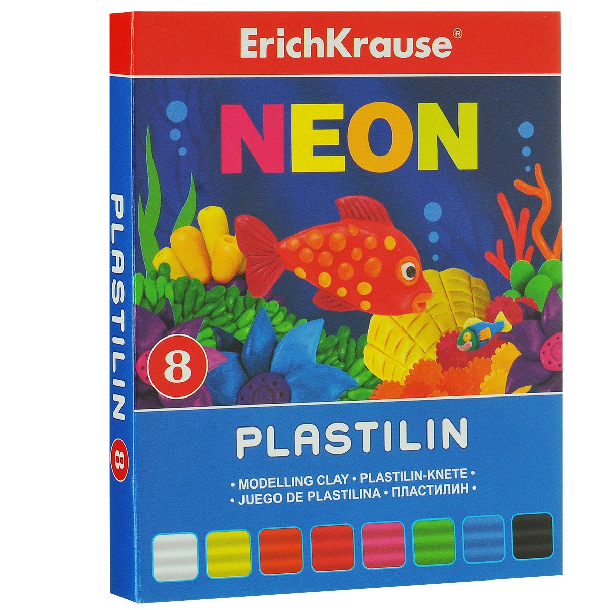 Пластилин Erich Krause Neon, 8 цветов37277Пластилин Neon- это отличная возможность познакомить ребенка с еще одним из видов изобразительного творчества, в котором создаются объемные образы и целые композиции. В набор входит пластилин 8 ярких цветов (белый, желтый, оранжевый, красный, розовый, зеленый, голубой, черный). Цвета пластилина легко смешиваются между собой, и таким образом можно получить новые оттенки. Он имеет яркие, красочные цвета.Техника лепки богата и разнообразна, но при этом доступна даже маленьким детям. Занятие лепкой не только увлекательно, но и полезно для ребенка. Оно способствует развитию творческого и пространственного мышления, восприятия формы, фактуры, цвета и веса, развивает воображение и мелкую моторику.