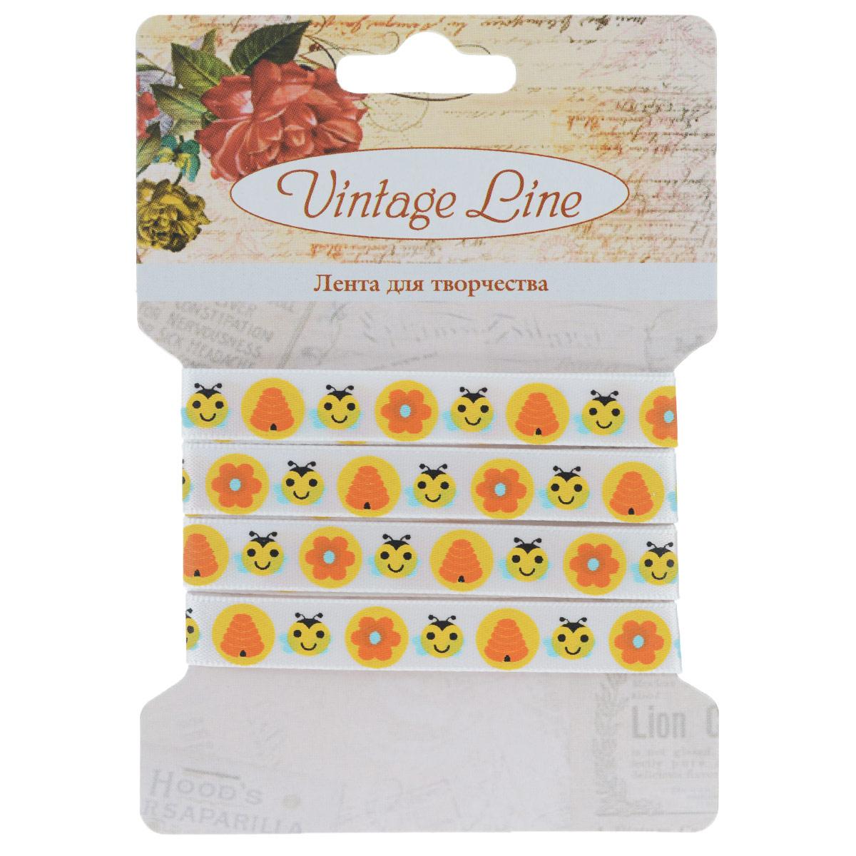 Лента декоративная Vintage Line Рожицы, 1 х 100 см 77092977709297Декоративная лента Vintage Line Рожицы представляет собой атласную ленту, декорированную пчелками и цветками. Такая лента идеально подойдет для оформления различных творческих работ таких, как скрапбукинг, аппликация, декор коробок и открыток и многое другое.Лента наивысшего качества практична в использовании. Она станет незаменимым элементом в создании рукотворного шедевра. Ширина: 1 см.Длина: 1 м.