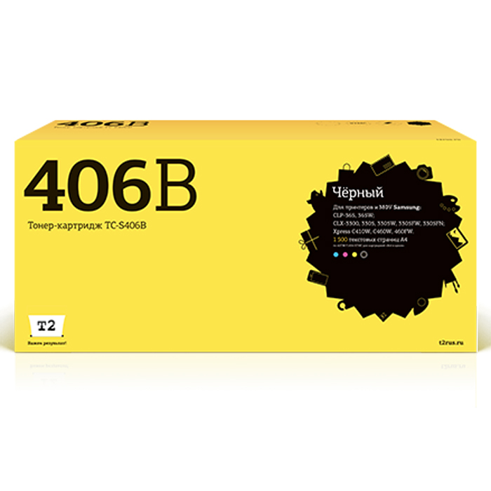 T2 TC-S406B, Black тонер-картридж (аналог CLT-K406S) для Samsung CLP-365/CLX-3300/3305/Xpress C410TC-S406B