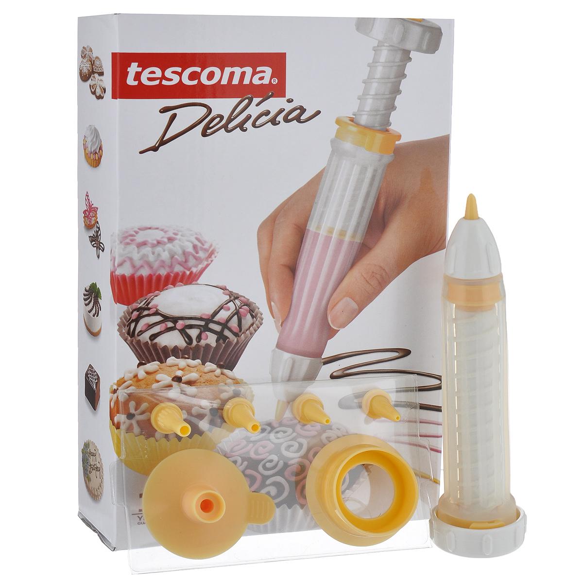 Кондитерский карандаш Tescoma Delicia630536Кондитерский карандаш Tescoma Delicia отлично подходит для украшения сладких и соленых блюд. С двумя насадками для обычного и очень тонкого украшения, воронкой для удобного наполнения, практичной крышкой для насадок и универсальным чистящим устройством. Карандаш изготовлен из высококачественного силикона и прочной пластмассы. Силиконовый корпус карандаша можно мыть в посудомоечной машине, пластиковые детали в посудомоечной машине мыть не стоит.