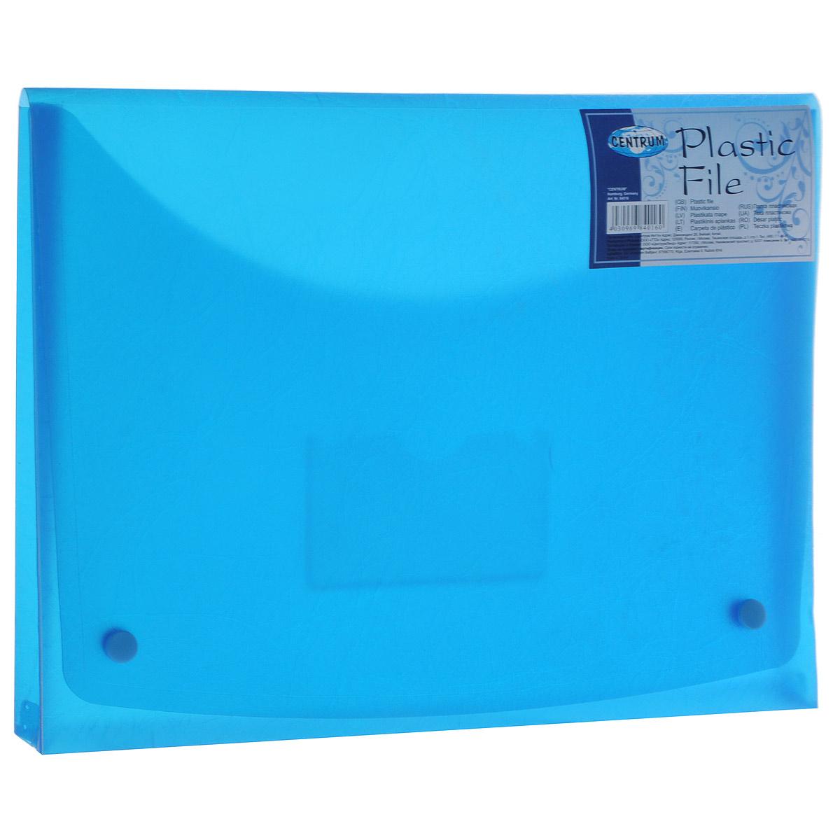 Папка-конверт на кнопках Centrum, цвет: голубой. Формат A484016_голубой84016 Папка-конверт на двух кнопках А4,пластик 0,4 мм,SOFT TOUCH 84016, цвет: синий