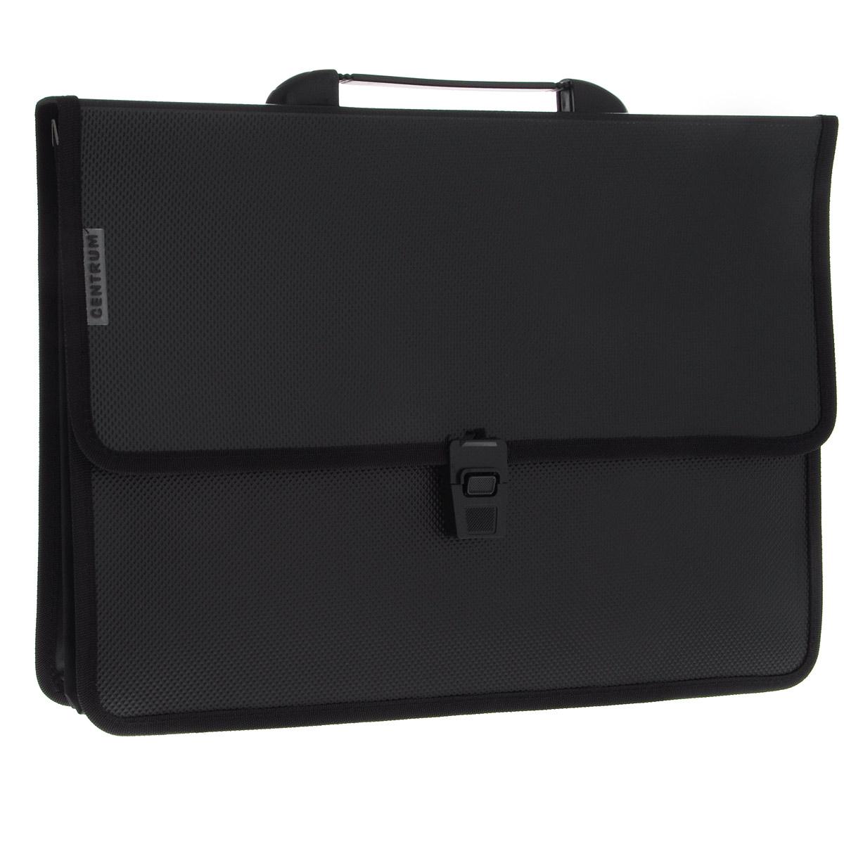 Папка-портфель  Centrum , 2 отделения, с ручкой, цвет: черный. Формат А4 - Папки
