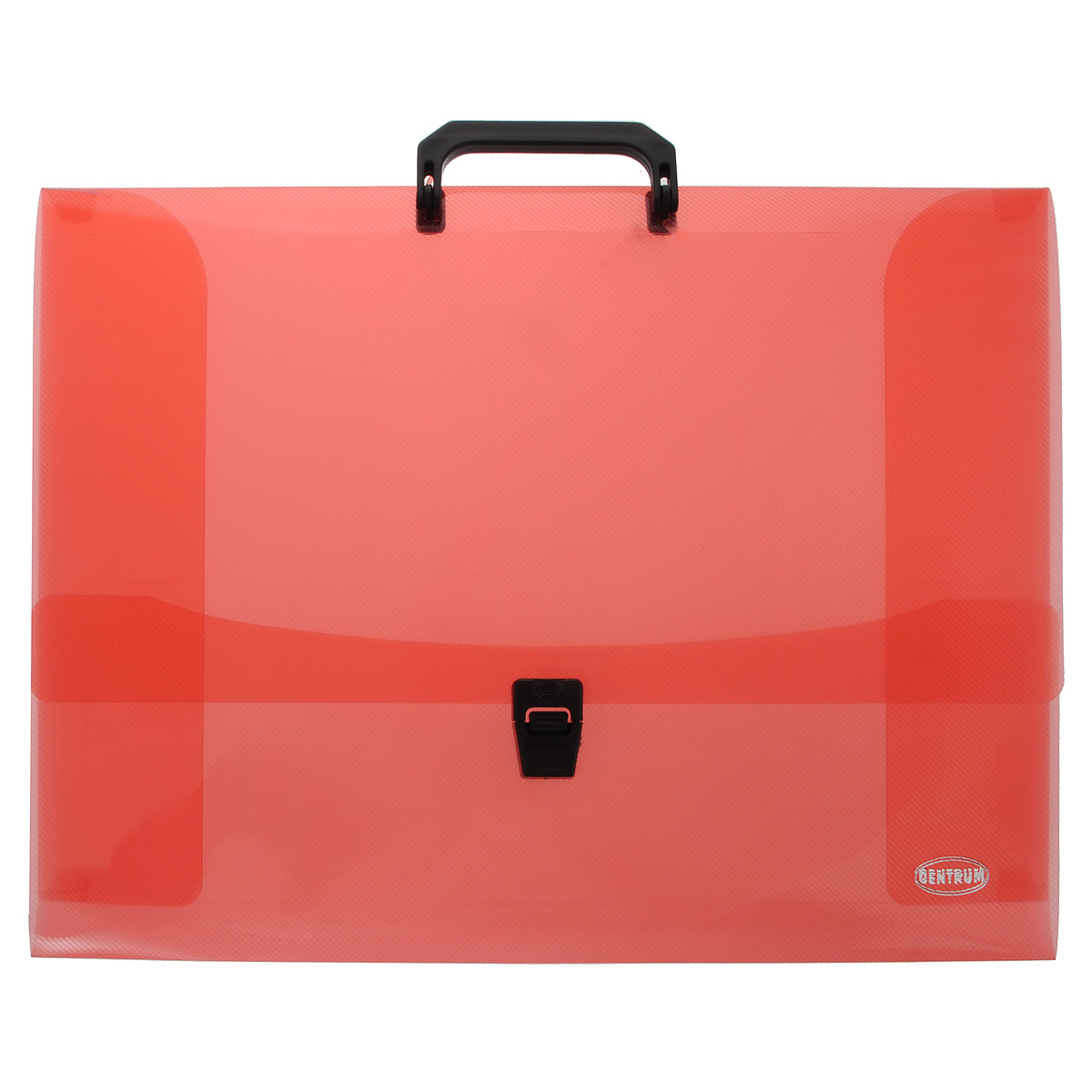 Папка-портфель Centrum, с ручкой, цвет: красный. Формат А380652 красныйПапка-портфель Centrum станет вашим верным помощником дома и в офисе. Это удобный и функциональный инструмент, предназначенный для хранения и транспортировки больших объемов рабочих бумаг и документов формата А3.Папка изготовлена из износостойкого полупрозрачного высококачественного пластика и закрывается на широкий клапан с замком. Состоит одного вместительных отделений. Папка оформлена оригинальным тиснением. Папка имеет удобную ручку для переноски.Папка - это незаменимый атрибут для любого студента, школьника или офисного работника. Такая папка надежно сохранит ваши бумаги и сбережет их от повреждений, пыли и влаги.