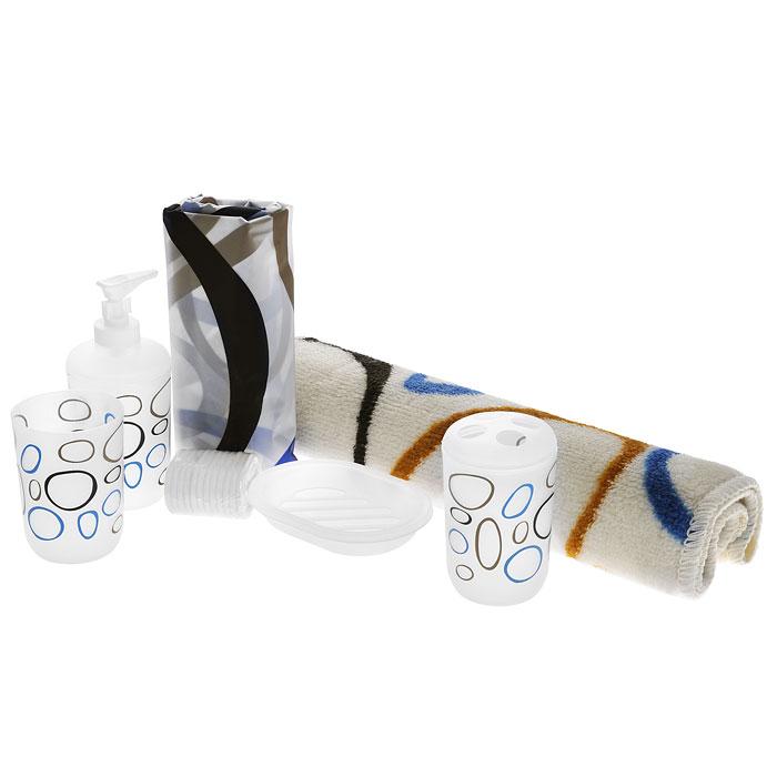 Набор для ванной комнаты House & Holder, 6 предметов. SWYS043SWYS043Набор для ванной комнаты House & Holder состоит из держателя для зубных щеток, стакана для пасты, дозатора для жидкого мыла, мыльницы, коврика и шторы для ванной с кольцами. Держатель, стакан, дозатор и мыльница изготовлены из полимера и оформлены разноцветными кругами. Коврик изготовлен из мягкого плотного ворса, который не даст замерзнуть ногам. Основание коврика, предотвращает скольжение по полу. Штора выполнена из материала, который не пропускает воду. С таким комплектом вы можете изменить облик ванной комнаты. Аксессуары, входящие в набор, выполняют не только практическую, но и декоративную функцию. Они способны внести в помещение изысканность, сделать пребывание в нем приятным и даже незабываемым. Высота стакана для пасты: 9,5 см. Диаметр стакана (по верхнему краю): 7 см. Высота держатель для зубных щеток: 11 см. Диаметр держателя (по верхнему краю): 7 см. Размер дозатора: 7 см х 7 см х 15,5 см. Размер мыльницы: 13 см х 9,5 см х 2,5 см. Размер шторы: 180 см х 180 см.
