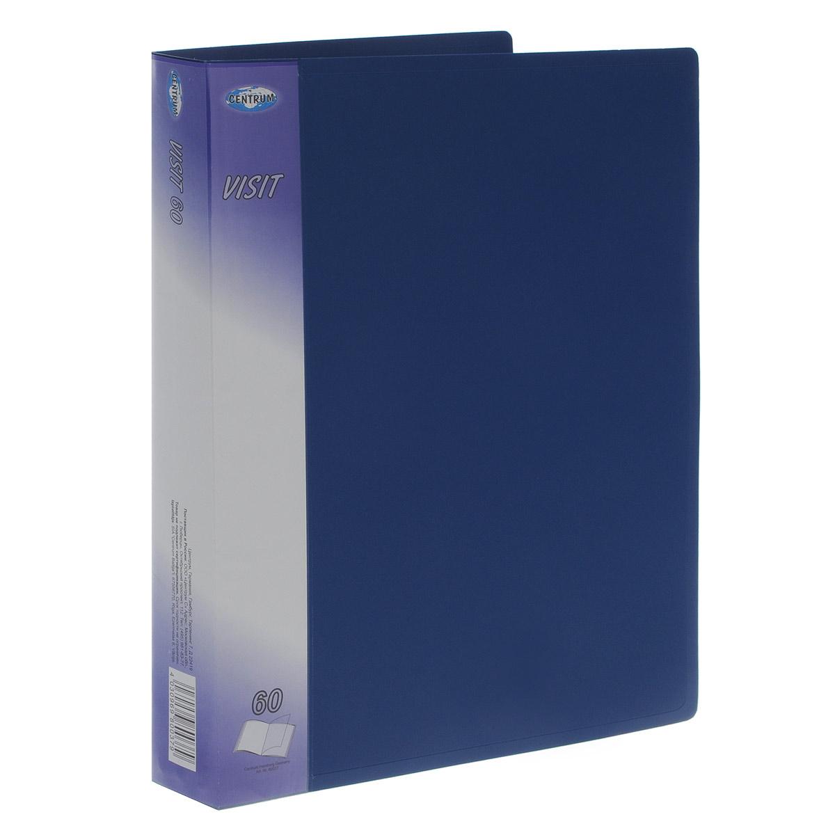Папка с файлами Centrum Visit, на 60 файлов, цвет: синий. Формат А4 папки канцелярские centrum папка регистр а4 5 см фиолетовая