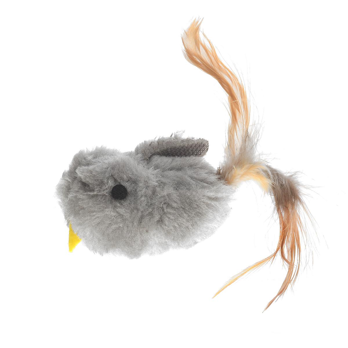 Игрушка для кошки V.I.Pet Птичка, с мятой, цвет: серый игрушка для кошки