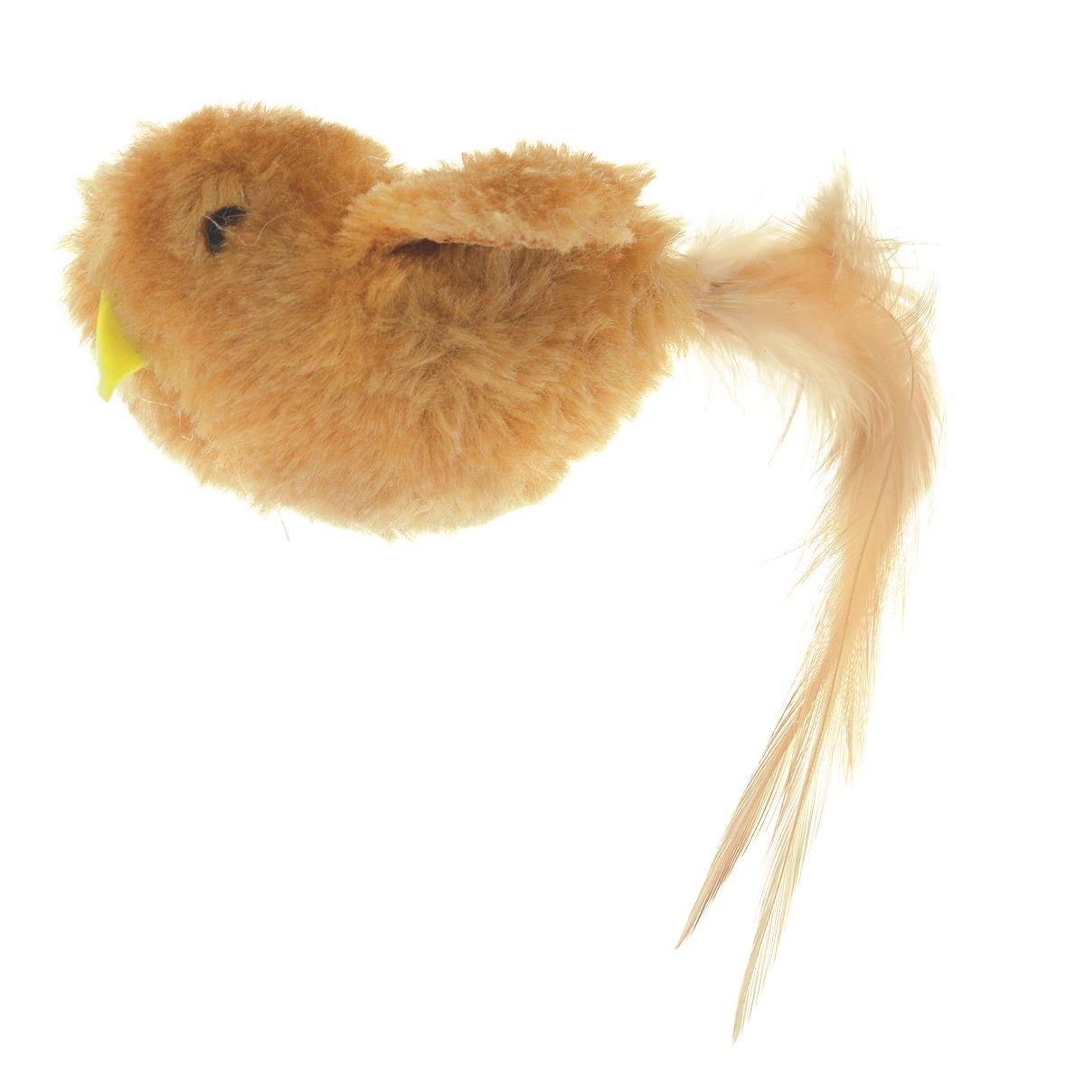 Игрушка для кошки V.I.Pet Птичка, с мятой, цвет: коричневый игрушка для кошки плюшевый мяч с бубенчиком с кошачьей мятой zoobaloo