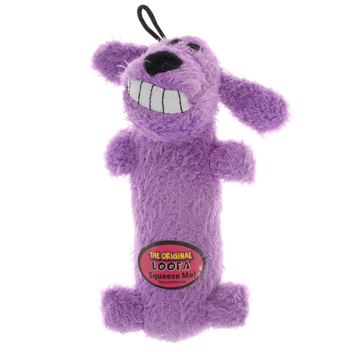 Игрушка для животных Multipet Собака, с пищалкой, цвет: фиолетовый12-47711Игрушка Multipet Собака изготовлена из прочного и долговечного полиэстера, устойчивого к разгрызанию. Необычная и забавная игрушка прекрасно подойдет для собак и кошек, любящих плюшевые игрушки с пищалками, так как в игрушку вшиты 2 пищалки с разным звучанием.