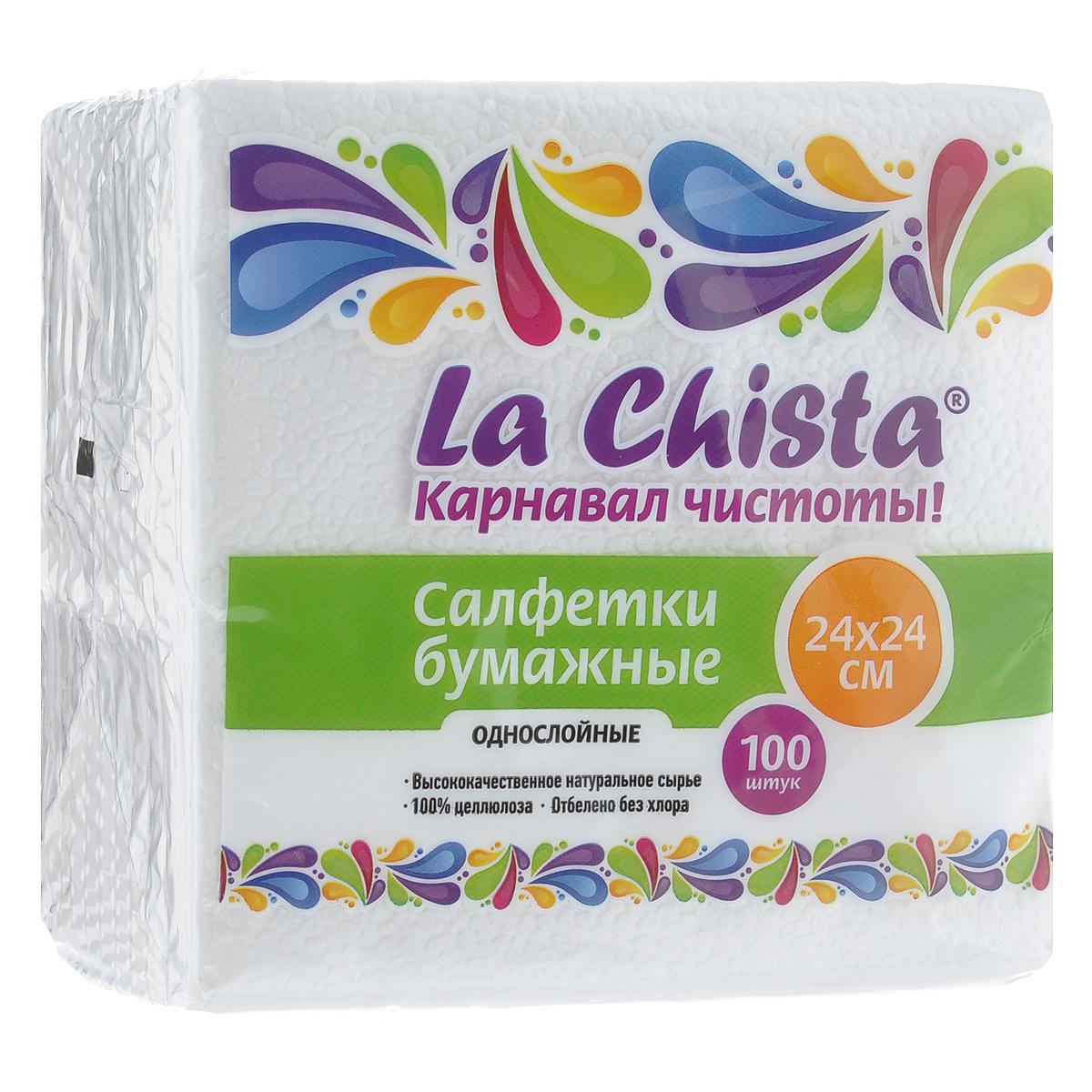 """Однослойные салфетки """"La Chista"""" выполнены из 100% целлюлозы. Салфетки подходят для косметического, санитарно-гигиенического и хозяйственного назначения. Нежные и мягкие. Салфетки украшены узором.Размер салфеток: 24 см х 24 см"""