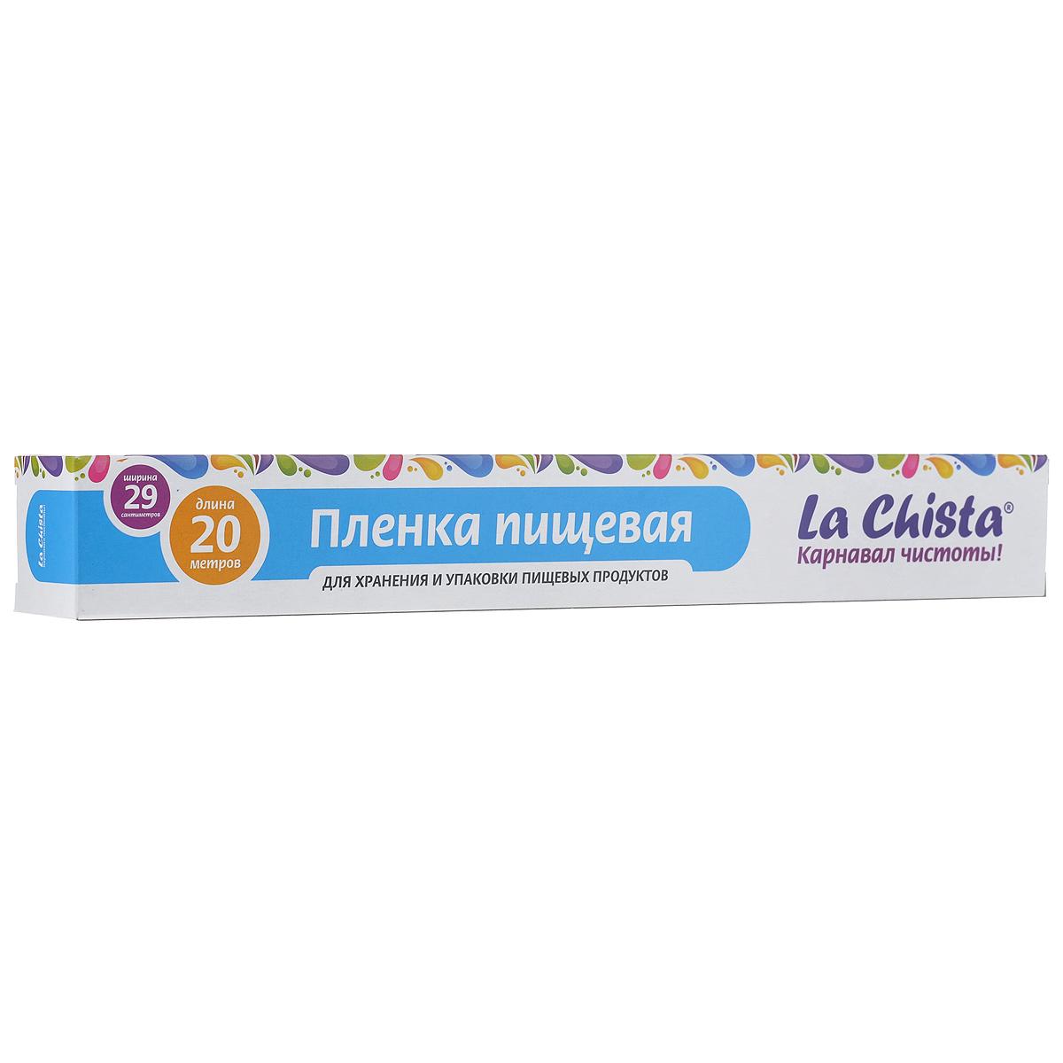 Пленка пищевая La Chista, 20 м х 29 см870260Экологически чистая пленка La Chista помогает сохранить свойства продуктов, предотвращает их быстрое высыхание, защищает от воздействий внешней среды и пропитывания посторонними запахами. Выполнена из полиэтилена.