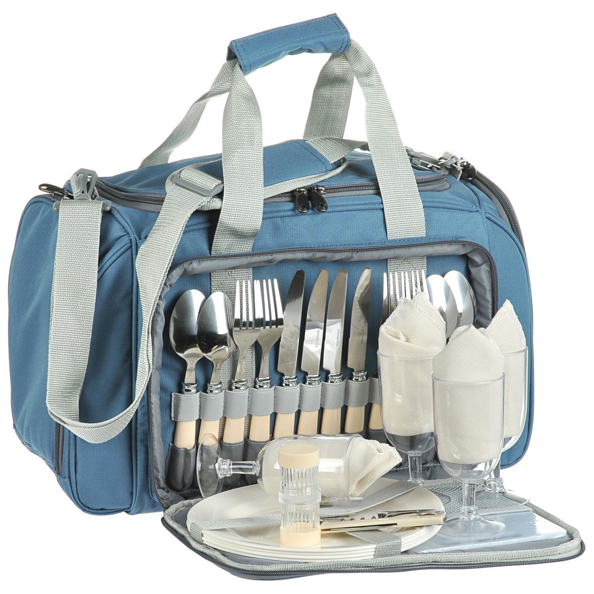 Термосумка Norfin Vardo, с посудой, цвет: голубой, серый, 52 см х 30 см х 31 смNFL-40106Сумка Norfin Vardo с набором для пикника на 4 персоны и с легкомоющимся термоотделением для продуктов объемом 20 л. Сумка оснащена двойными ручками и регулируемым по длине наплечным ремнем.В комплект входит посуда и принадлежности для пикника:4 ложки.4 вилки.4 ножа4 тарелки. 4 бокала.4 тканевые салфетки.Разделочная доска.Открывалка-штопор.Солонка двухсекционная.Нож сырный.Длина ножей: 21 см.Длина вилок: 20 см.Длина ложек: 19 см.Диаметр тарелок: 23,5 см.Высота тарелок: 2 см.Диаметр бокалов: 6,5 см.Высота бокалов: 14 см.Размер салфеток: 34 см х 34 см.Размер разделочной доски: 18 см х 15 см.Длина открывалки-штопора: 11 см.Диаметр солонки: 3,5 см.Высота солонки: 8 см.Длина сырного ножа: 21 см.Размер сумки: 52 см х 30 см х 31 см.