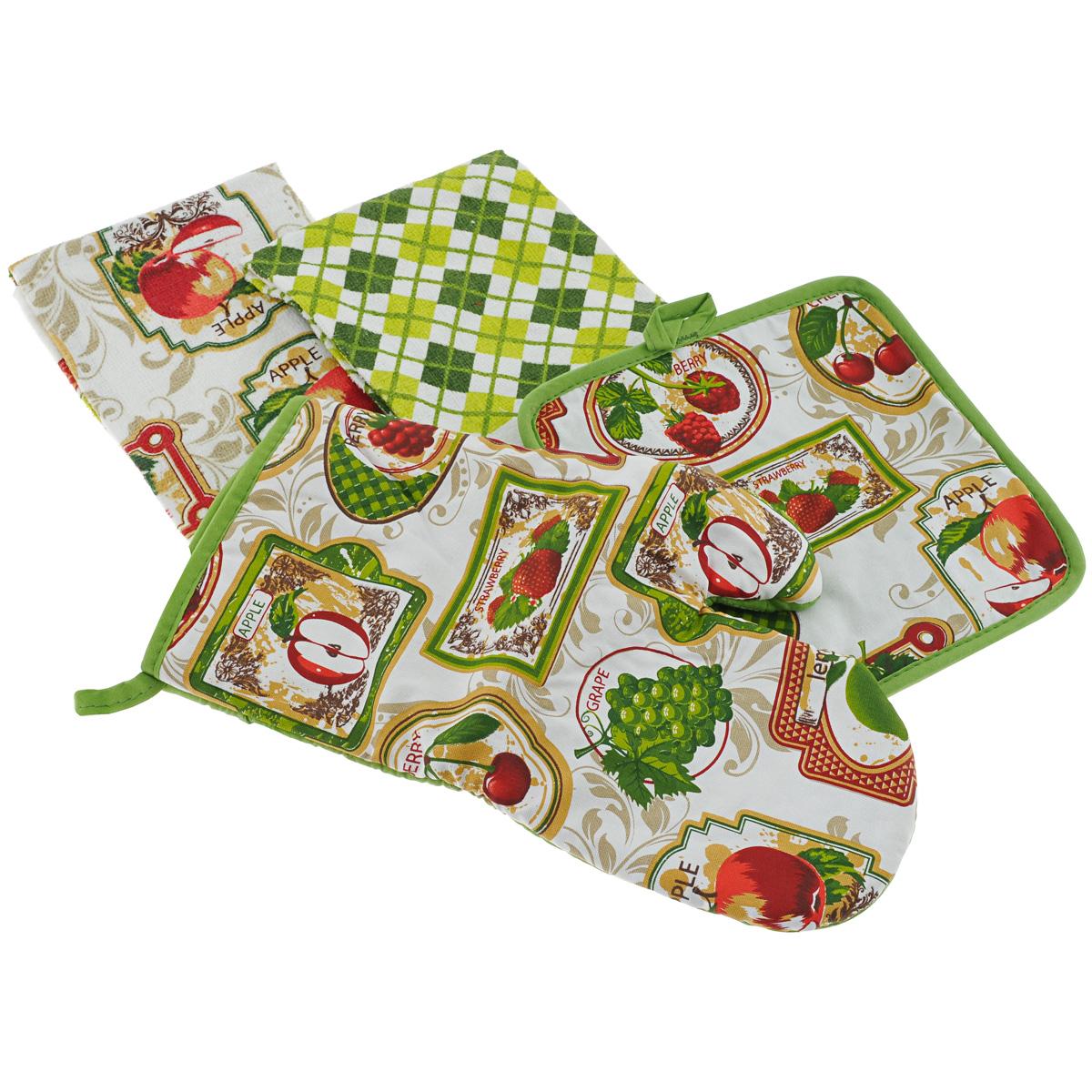 """Набор для кухни Primavelle """"Фрукты"""" состоит из квадратной прихватки, варежки-прихватки и двух кухонных полотенец. Предметы набора изготовлены из натурального хлопка и оформлены ярким изображением фруктов.Махровые полотенца подарят вам мягкость и необыкновенный комфорт в использовании. Они идеально впитывают влагу и сохраняют свою необычайную мягкость даже после многих стирок. Одно из полотенец оформлено принтом в клетку, а другое - изображением фруктов. Прихватки снабжены петелькой для удобного подвешивания на крючок, они защитят ваши руки от воздействия горячих температур и обеспечат комфорт во время приготовления пищи. Кроме того, комплект имеет яркий красочный дизайн, он украсит ваш интерьер и станет прекрасным подарком.Размер полотенец: 38 см х 64 см.Размер прихватки: 20 см х 20 см.Размер варежки-прихватки: 18 см х 33 см."""