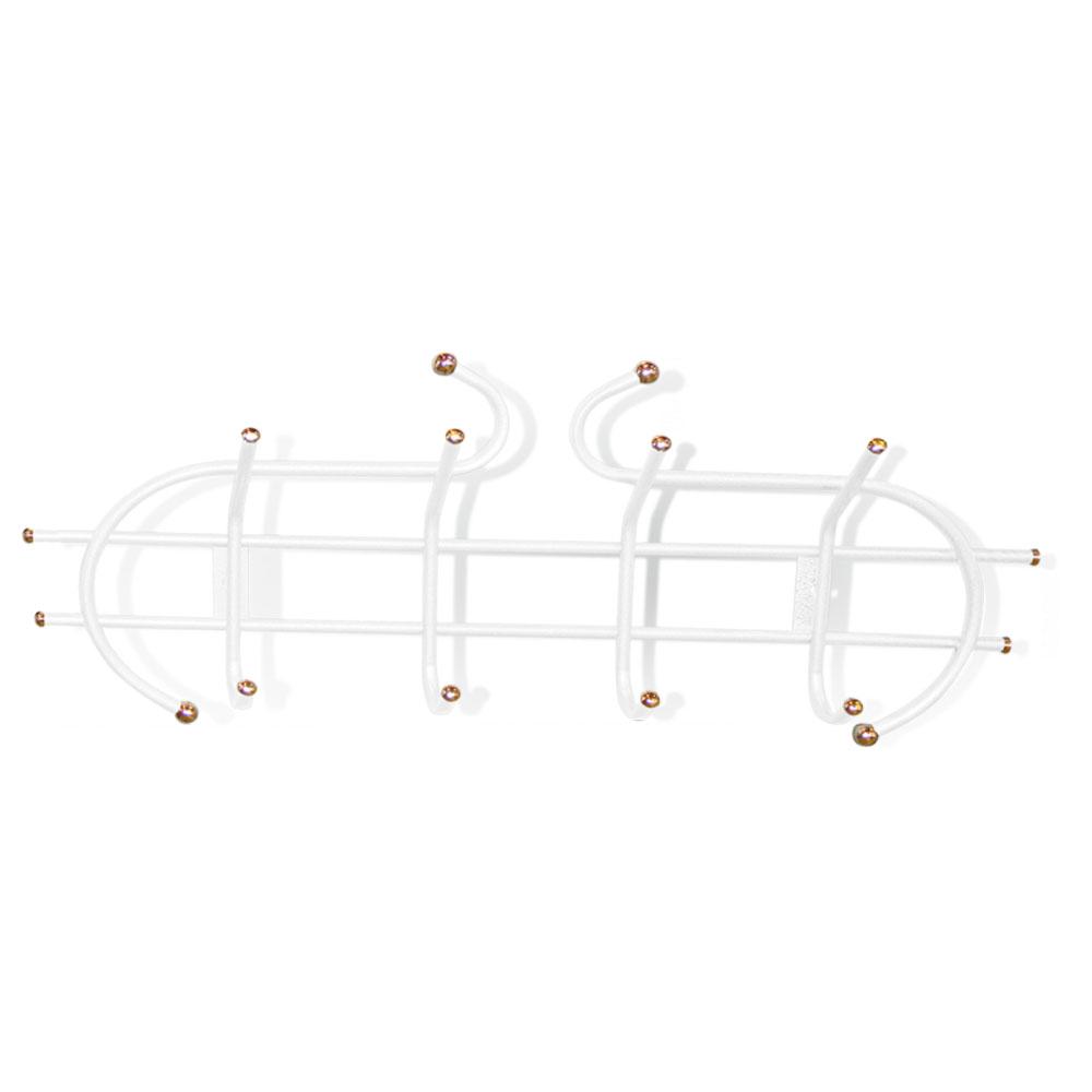 Вешалка настенная Sheffilton Уют 1/4, цвет: белый, золотистый, 4 крючкаВ2-6-1Настенная вешалка Sheffilton Уют 1/4, изготовленная из металла, - это стильное решение для дома и офиса в экономии пространства. Вешалка имеет 4 парных крючка, на которые вы сможете повесить одежду, сумку или шарфы. На крючках имеются декоративные пластиковые наконечники. Вешалка покрыта порошковой окраской, стойкой к механическим повреждениям. Крепится к стене при помощи двух шурупов (не входят в комплект). Максимальная нагрузка на крючок: 5 кг.