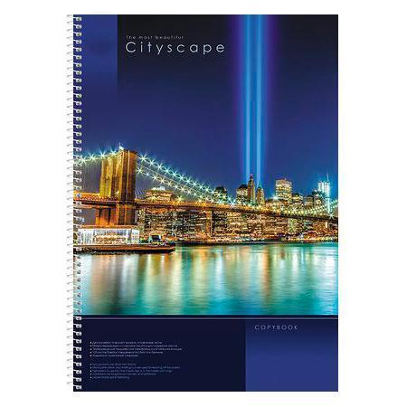 Тетрадь 100л А4ф обложка с карманом клетка на спирали CityScape100Ткм4B1сп_12523