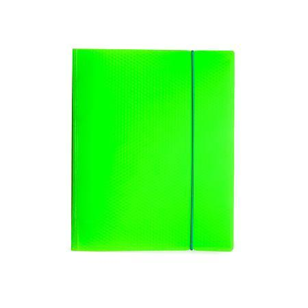 Тетрадь 120л А5ф на 4 х кольцах Пластиковая обложка на резинке DIAMOND НЕОН зеленая120ТК5Bр1_02034