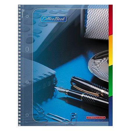 Тетрадь с твердой обложкой 120л А4ф на спирали 4 цв. разделителя перфорация на отрыв Office Book120Ттр4B1сп_09097