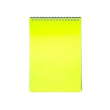 Блокнот 80л А5ф Пластиковая обложка на гребне DIAMOND НЕОН желтый1251786Блокнот с обложкой из картона, защищающей бумагу от деформации.