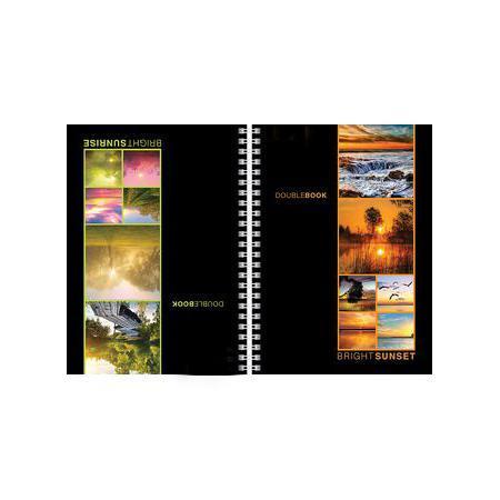 Тетрадь двойная с твердой обложкой 80л А5ф на гребне Закаты Рассветы20361Тетрадь с обложкой из картона, защищающей бумагу от деформации.
