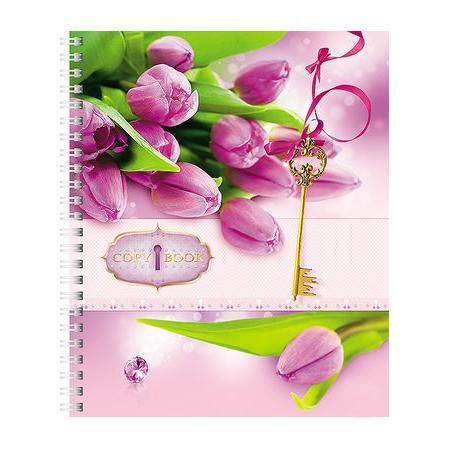 Тетрадь с твердой обложкой 96л А5ф клетка на гребне Flowers96Тт5B1гр_10023
