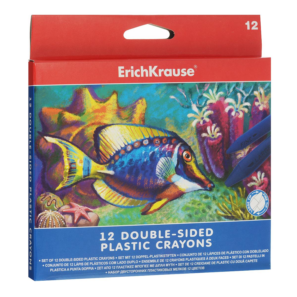 Двусторонние мелки Erich Krause, 12 цветов34928Двусторонние мелки Erich Krause помогут вашему маленькому художнику раскрыть свой талант. В набор входят 12 цветных мелков (желтый, оранжевый, розовый, красный, коричневый, салатовый, зеленый, голубой, синий, светло-фиолетовый, фиолетовый, черный).Мелками очень удобно пользоваться: с одной стороны имеется широкий наконечник для быстрого раскрашивания, а с другой - узкий наконечник для тонких линий. Их не нужно точить, кроме того, они водоустойчивы. Мелки помогут малышу развить мелкую моторику рук, координацию движений, цветовое восприятие, воображение и творческое мышление.