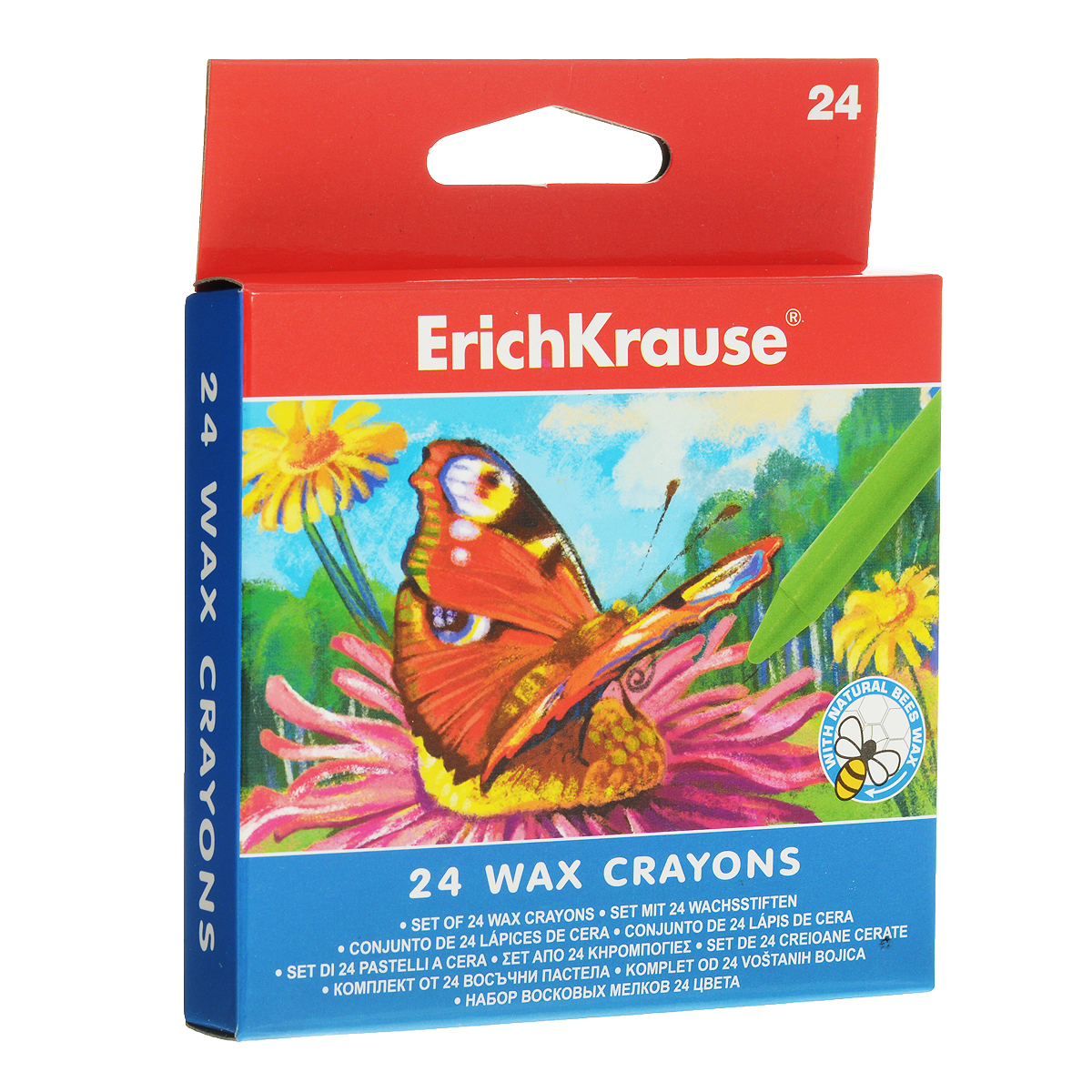 Восковые мелки Erich Krause, 24 цвета карандаши восковые мелки пастель micador гипоаллергенные восковые мелки выкручивающиеся 24 шт