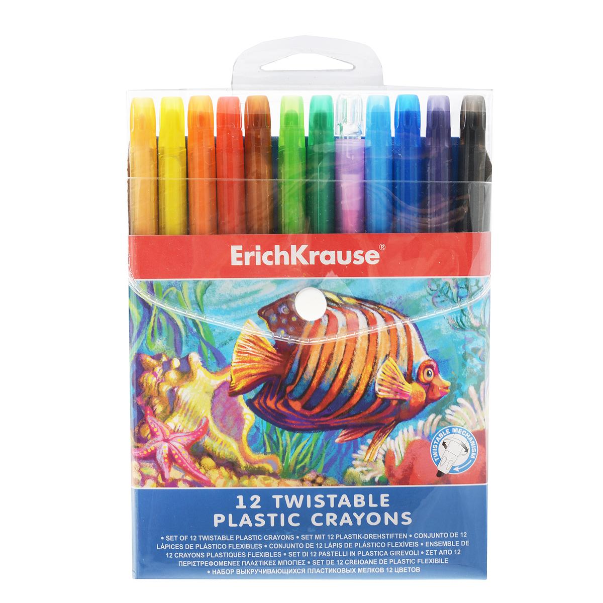 Выкручивающиеся мелки Erich Krause, 12 цветов34932Выкручивающиеся мелки Erich Krause помогут вашему маленькому художнику раскрыть свой талант. В набор входят 12 цветных мелков (персиковый, желтый, оранжевый, красный, розовый, коричневый, салатовый, зеленый, голубой, синий, фиолетовый, черный). Корпус мелков выполнен из высококачественного прочного пластика. Мелки удобны в использовании: необходимо просто повернуть корпус - и можно приступать к рисованию. Их не нужно точить, а еще они устойчивы к ломке.Эти мелки способствуют развитию у ребенка мелкой моторики рук, координации движений, цветовосприятия и творческого мышления.