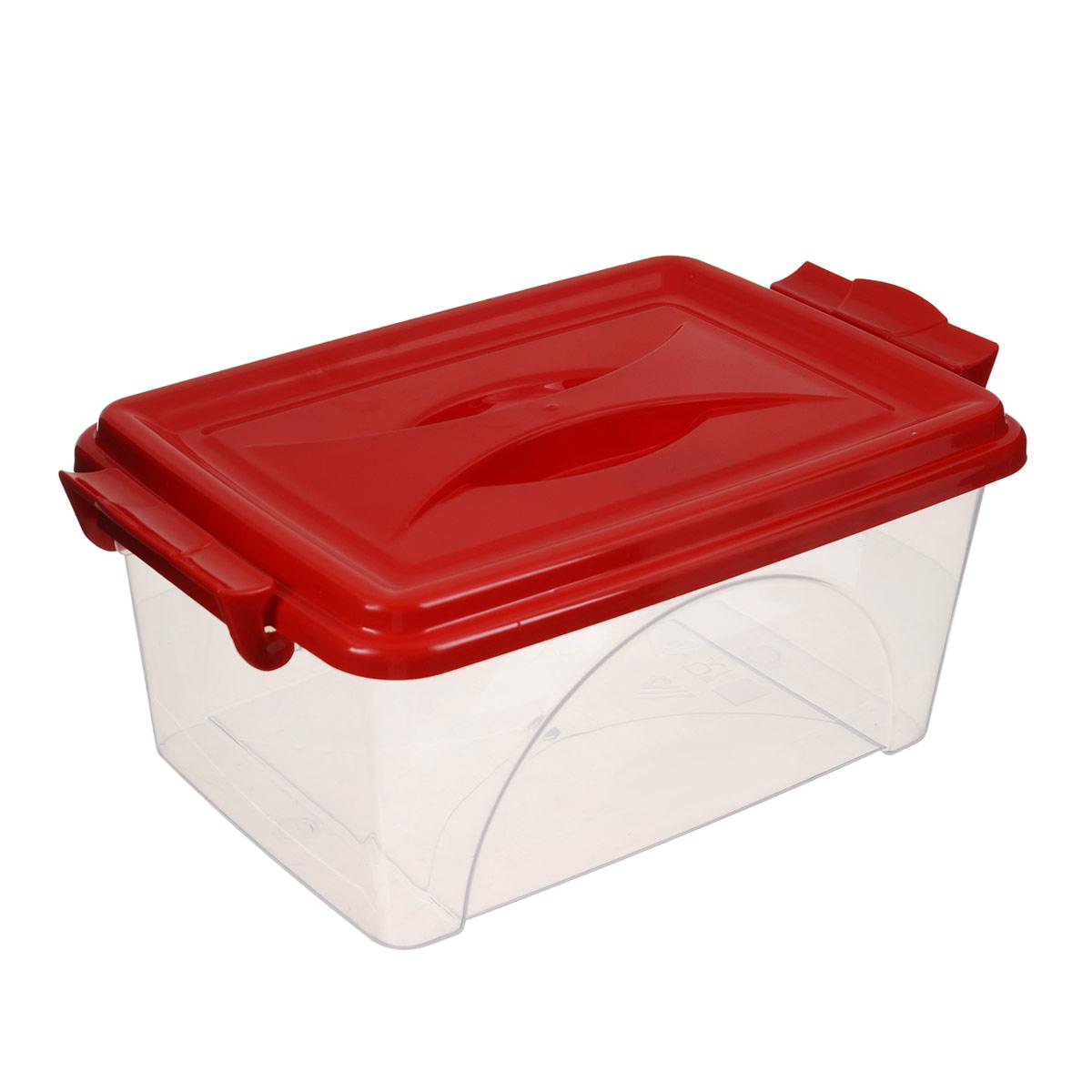 Контейнер Альтернатива, цвет: красный, 2,5 лМ421_красныйКонтейнер Альтернатива выполнен из прочного пластика. Он предназначен для хранения различных мелких вещей. Крышка легко открывается и плотно закрывается. Прозрачные стенки позволяют видеть содержимое. По бокам предусмотрены две удобные ручки, с помощью которых контейнер закрывается.Контейнер поможет хранить все в одном месте, а также защитить вещи от пыли, грязи и влаги.Уважаемые клиенты!Обращаем ваше внимание на то, что цвет ручек товара может меняться в зависимости от прихода на склад.
