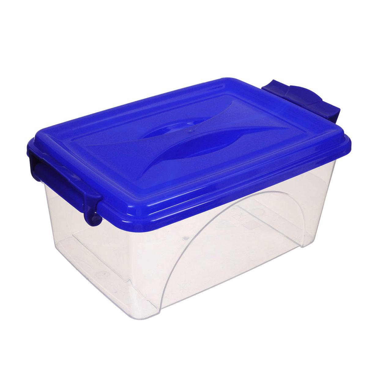 Контейнер Альтернатива, цвет: синий, 2,5 лМ421Контейнер Альтернатива выполнен из прочного пластика. Он предназначен для хранения различных мелких вещей. Крышка легко открывается и плотно закрывается. Прозрачные стенки позволяют видеть содержимое. По бокам предусмотрены две удобные ручки, с помощью которых контейнер закрывается.Контейнер поможет хранить все в одном месте, а также защитить вещи от пыли, грязи и влаги.