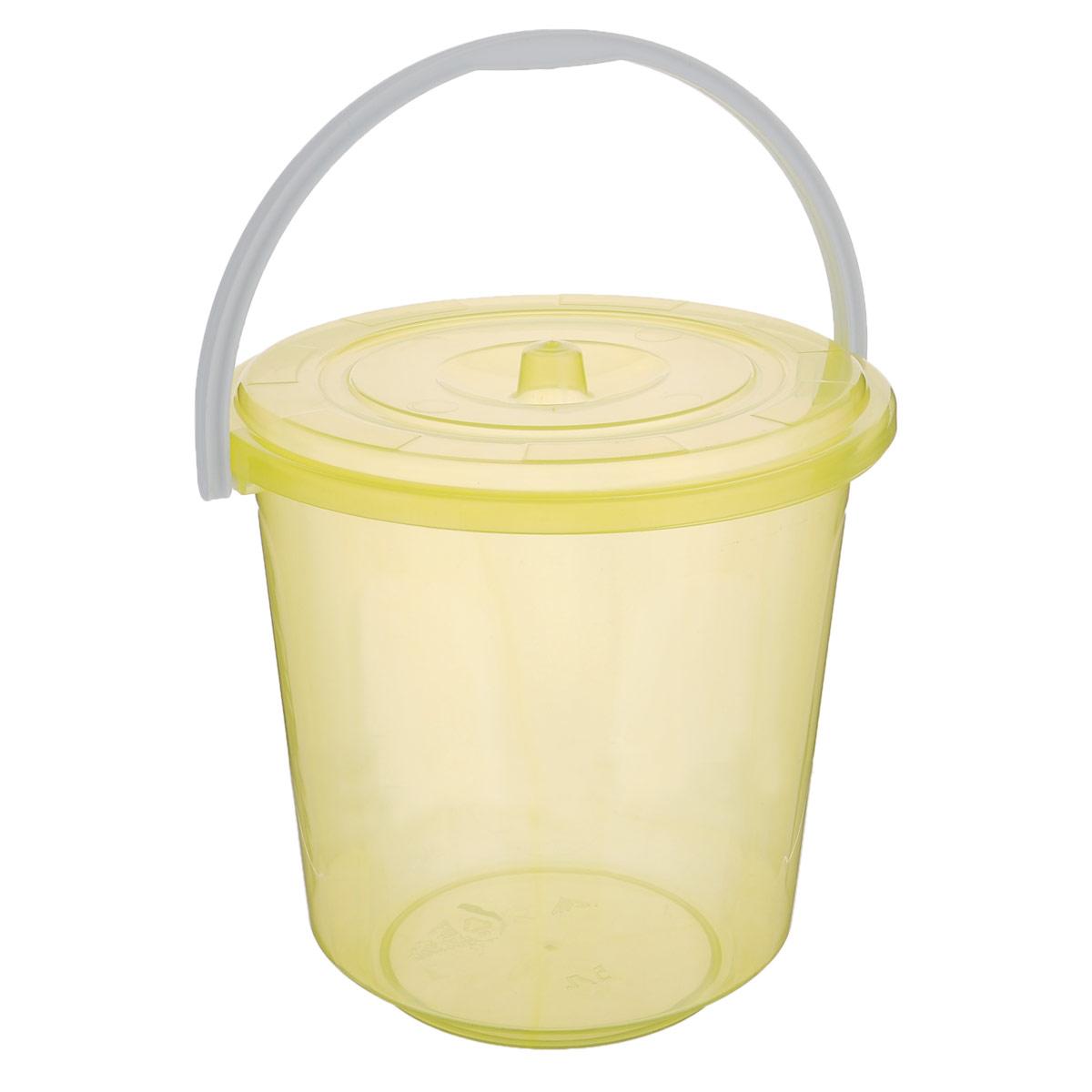 Ведро Альтернатива Хозяюшка, с крышкой, цвет: желтый, 5 лМ1178_желтыйКруглое ведро Альтернатива Хозяюшка изготовлено из высококачественногопластика. Оно легче железного и не подвержено коррозии. Ведро оснащеноудобной пластиковой ручкой и плотно прилегающей крышкой. Такое ведро станет незаменимым помощником в хозяйстве. Диаметр (по верхнему краю): 21 см. Высота (без учета крышки): 21 см.