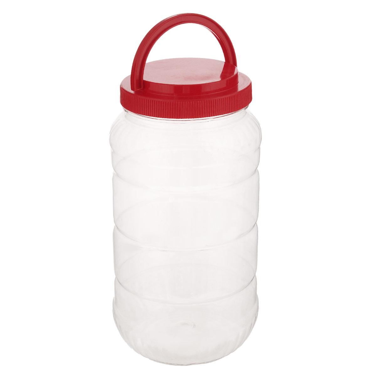 Емкость Альтернатива, с ручкой, цвет: красный, 3 лM957_красныйЕмкость Альтернатива предназначена для хранения сыпучих продуктов или жидкостей. Выполнена из высококачественного пластика. Оснащена ручкой для удобной переноски. Ручка опускается.Диаметр: 10,5 см. Высота (без учета крышки): 25 см.